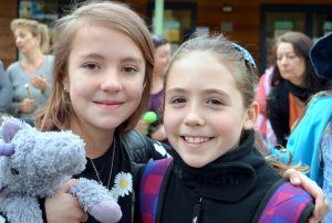 High Adventure: Yr 4/5 students Susha McRostie and Mia Coleman packed up and ready to go on  the Woodman Point Camp on Tuesday.