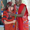 Tribal: Maasai Warrior, Felix  Mollel assisted Yr 5 student, Jett to don the Maasai costume.