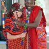 Tribal: Maasai Warrior, Felix  Mollel assisted Yr 5 student, Jett to don the Maasai costume.