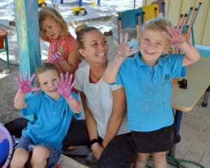Playground fun: New Pre-primary TA, Sasha Pol enjoys time with Olive, Edwina and Evie