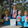 Author Davina Bell with MRIS students, Van Hulseboch, Evie Ryan and Matilda Lukac