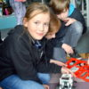Yr 6 student, Amelia Glass with one of the MRIS robots.