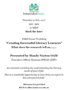 "Free Parent Workshop - ""Creating Successful Literacy Learners"" with Guest speaker Mandy Nayton OAM @ MRIS 