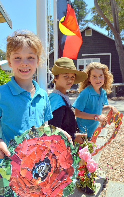 Mahla, Kael and Sol set down the hand -made wreaths